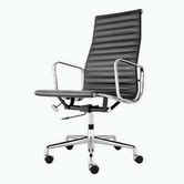 Eames Style High Back Ribbed Chair on Castors with Arms