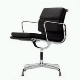 Eames Style Soft Pad Chair on Glides with Arms